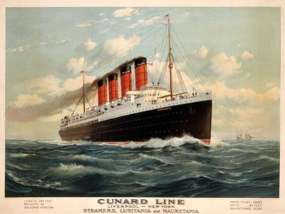 Advertisement for the Cunard Line, C.1908 (Colour Litho) by Fred Pansing
