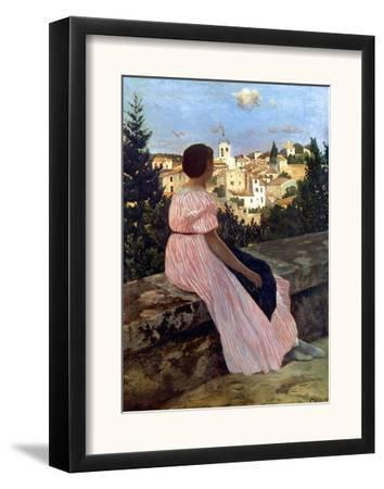 Bazille: Pink Dress, 1864 by Frederic Bazille