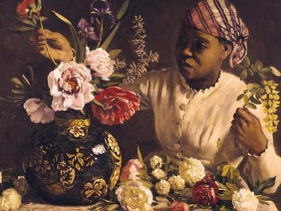 Negress with Peonies, 1870 by Frederic Bazille