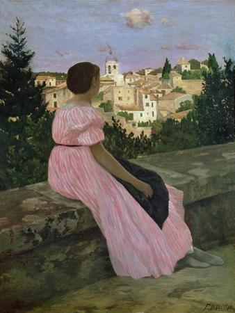 The Pink Dress, or View of Castelnau-Le-Lez, Herault, 1864 by Frederic Bazille
