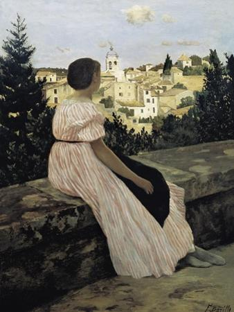 The Pink Dress, or View of Castelnau-Le-Lez by Frederic Bazille