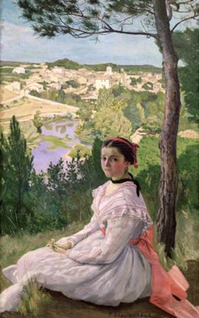 View of the Village, Castelnau, 1868 by Frederic Bazille