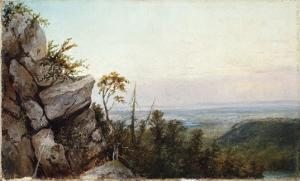 Rocks and Landscape by Frederic Edwin Church