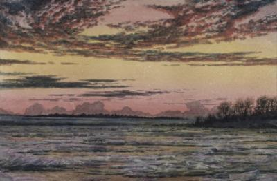 Sunset over the Ice by Frederic Edwin Church