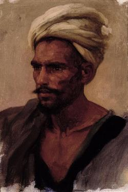 Male Figure with a Turban, 1865 by Frederic Leighton