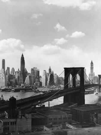 Brooklyn Bridge and Manhattan Skyline by Frederic Lewis