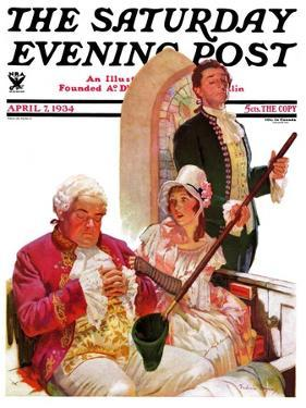 """Sleeping in Church,"" Saturday Evening Post Cover, April 7, 1934 by Frederic Mizen"