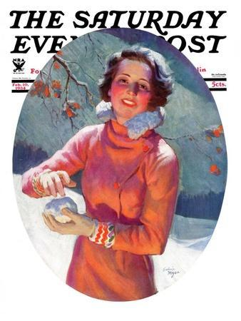 """""""Woman Forming a Snowball,"""" Saturday Evening Post Cover, February 10, 1934"""
