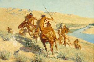 Episode of the Buffalo Gun (The Visitation of the Buffalo Gun: a Buffalo Episode) 1909 by Frederic Remington