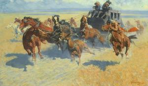 Downing the Nigh Leader, 1907 by Frederic Sackrider Remington