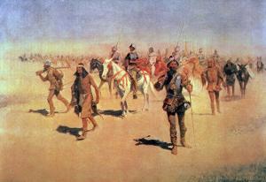 "Francisco Vasquez De Coronado Making His Way Across New Mexico, from ""The Great American Explorers"" by Frederic Sackrider Remington"