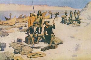 Lewis and Clark at the Mouth of the Columbia River, 1805, from 'Collier's Magazine', May 12th 1906 by Frederic Sackrider Remington