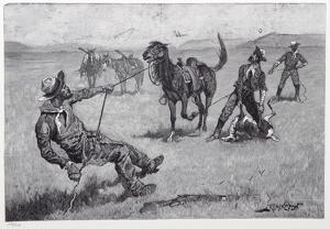 Teaching a mustang pony to pack dead game by Frederic Sackrider Remington
