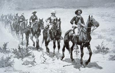 US Buffalo Soldiers Marching in the Desert, from a Drawing of 1888 by Frederic Sackrider Remington