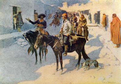 Zebulon Pike Entering Santa Fe, Illustration Published in 'Collier's Weekly', 1906 by Frederic Sackrider Remington