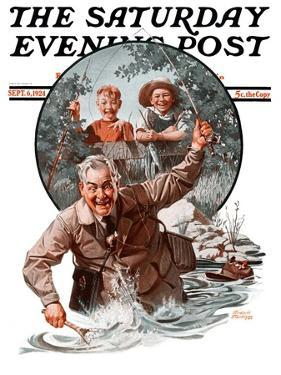 """Fisherman and Boys,"" Saturday Evening Post Cover, September 6, 1924 by Frederic Stanley"
