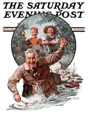 """""""Fisherman and Boys,"""" Saturday Evening Post Cover, September 6, 1924 by Frederic Stanley"""