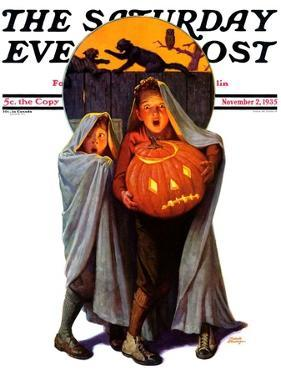 """""""Halloween Scare,"""" Saturday Evening Post Cover, November 2, 1935 by Frederic Stanley"""