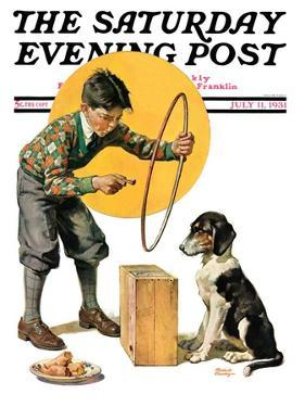 """Old Dog, New Tricks,"" Saturday Evening Post Cover, July 11, 1931 by Frederic Stanley"