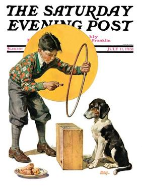 """""""Old Dog, New Tricks,"""" Saturday Evening Post Cover, July 11, 1931 by Frederic Stanley"""