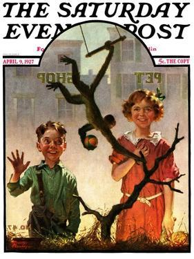 """Pet Shop Monkey,"" Saturday Evening Post Cover, April 9, 1927 by Frederic Stanley"