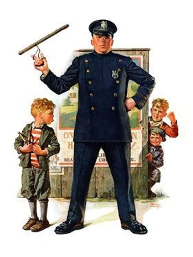 """Policeman and Boy with Slingshot,""March 15, 1930 by Frederic Stanley"