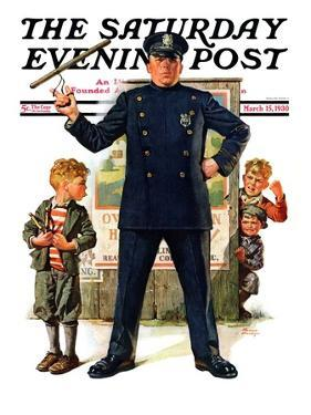 """Policeman and Boy with Slingshot,"" Saturday Evening Post Cover, March 15, 1930 by Frederic Stanley"
