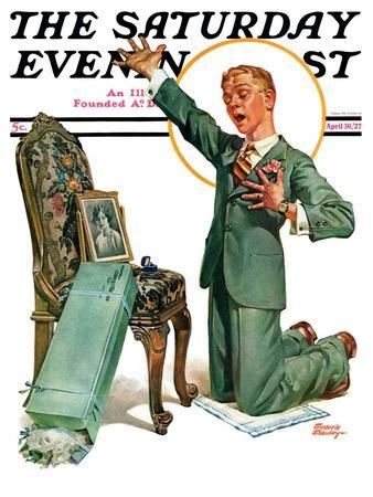 """""""Practice Proposal,"""" Saturday Evening Post Cover, April 30, 1927"""