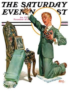 """Practice Proposal,"" Saturday Evening Post Cover, April 30, 1927 by Frederic Stanley"