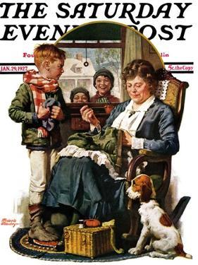 """Repairing Pants,"" Saturday Evening Post Cover, January 29, 1927 by Frederic Stanley"