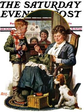 """""""Repairing Pants,"""" Saturday Evening Post Cover, January 29, 1927 by Frederic Stanley"""