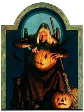 """Witch Carving Pumpkin,""October 27, 1928 by Frederic Stanley"