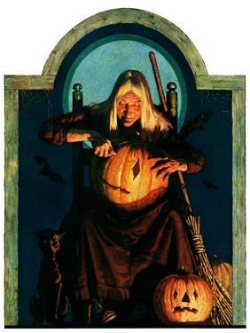 """""""Witch Carving Pumpkin,""""October 27, 1928 by Frederic Stanley"""