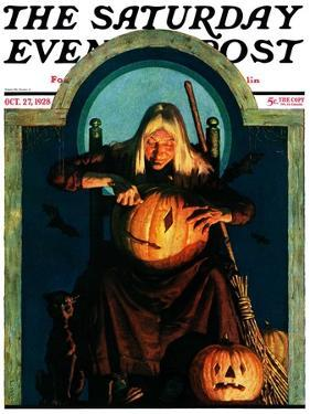 """Witch Carving Pumpkin,"" Saturday Evening Post Cover, October 27, 1928 by Frederic Stanley"