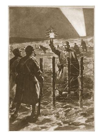 A Christmas Incident in the Trenches in the West (Litho)