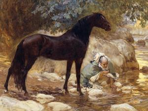 An Arab watering his Horse by a River by Frederick Arthur Bridgman