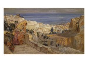 Arab Woman on a Rooftop, Algiers Beyond by Frederick Arthur Bridgman
