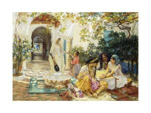 In a Village at El Biar, Algiers by Frederick Arthur Bridgman