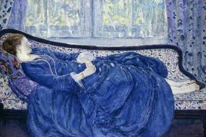 Girl in Blue, 1917 by Frederick Carl Frieseke
