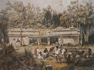Archaeologists Catherwood and Stephens Measuring Temple of Tulum, Yucatan, Mexico by Frederick Catherwood