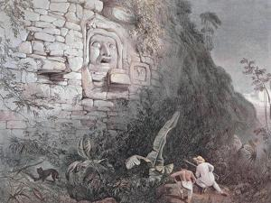 Carved Head of Itzamna in Izamal by Frederick Catherwood