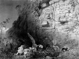 Head of Itzam Na, Izamal, Yucatan, Mexico, 1844 by Frederick Catherwood