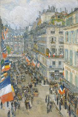 July Fourteenth, Rue Daunou, 1910 by Frederick Childe Hassam