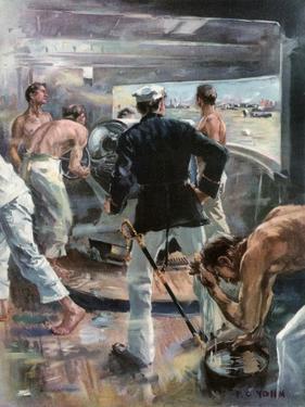 The Battle of Manila Bay. - Fighting a Six-Inch Gun on Board the Olympia by Frederick Coffay Yohn