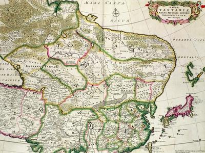 Map of Mongolia Showing Part of Russia, Japan and China, C.1680