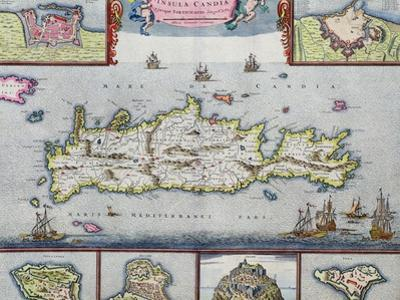 Map of the Island of Candia (Crete) with the Sea Port of Herakleion, circa 1680 by Frederick de Wit