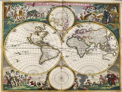World Map (Nova Orbis Tabula) from 'Nicolass Visscher Atlas Minor' C.1719