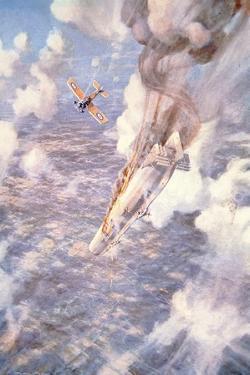 Death to the Murderers' - Lt Warneford Shoots Down a Zeppelin Raider by Frederick Gordon Crosby