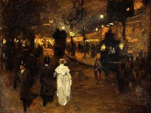 Charing Cross Road at Night, London, C.1905 by Frederick Judd Waugh