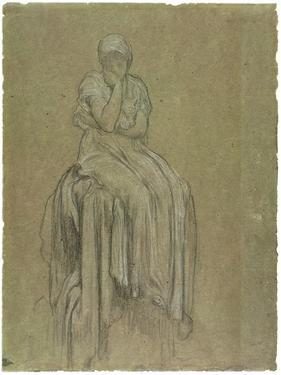 Study for Solitude, C.1890 (Chalk on Paper) by Frederick Leighton